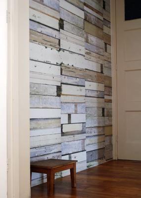 Papel pintado madera reciclada for Papel pintado madera blanca