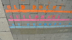 The Orange, Blue and Pink Lines (Claire_Sambrook) Tags: road pink shadow 3 green walking lumix paint cross pavement tags follow line help portsmouth conference cracks tracking mobility universityofportsmouth lx3 clairesambrook welshphotographer createup clairesambrookphotographer