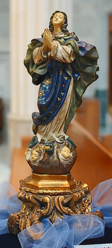 "17th century carving, ""Immaculate Assumption"", made in Luxembourg, from the collection of the Marianum, photographed at the Cathedral of Saint Peter, in Belleville, Illinois, USA"