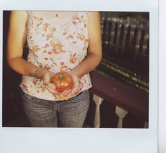 in my own two hands (julia:elise) Tags: tomato yum heirloom polaroidspectra homegrown brandywine