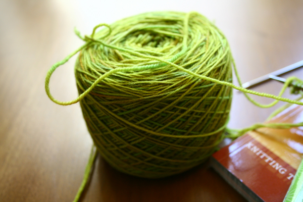 Hand dyed green yarn