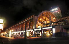 S-Bahnhof Alexander Platz at Night (Werner Kunz) Tags: longexposure trip travel red vacation holiday alex night speed train photoshop germany dark deutschland lights licht nikon europe long exposure time nacht urlaub zug wideangle german alexanderplatz fernsehturm townhall rotesrathaus priority dri hdr tvtower hdri deutsch werner reise haltestelle shutterspeed sbahnhof kunz photomatix explored colorefex nikond90 topazadjust werkunz1