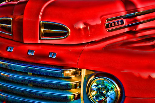 Fire Red Ford Pickup Truck