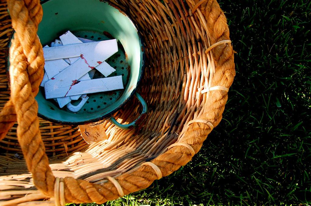 old basket, enamel colander, and tin letters
