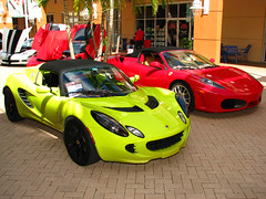 Lotus Elise & Ferrari F430 Supercars - Pep Boys Exotic & Classic Car Show 2009 - Pompano Citi Centre, Pompano Beach, Broward County, FL (paulmichaels79uf) Tags: show red green beach car canon mall is bright lotus elise centre flash ferrari exotic fl lime external pompano f430 supercars s5 citi 430ex