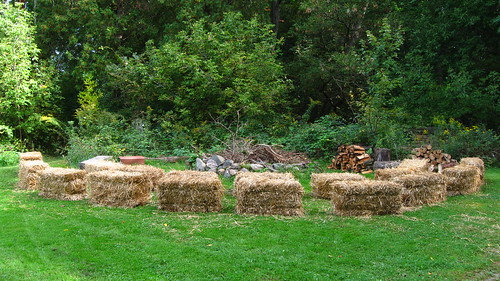 Straw bales around the campfire circle