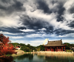 Garden View (` Toshio ') Tags: blue red sky lake canada reflection building green nature architecture clouds garden landscape asian botanical pagoda asia natural path stadium montreal canadian walkway olympic toshio superaplus aplusphoto gardenchinese