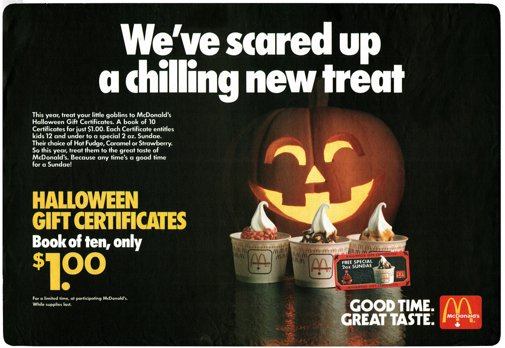 McDonald's Halloween Gift Certificates Tray Liners | THE METAL MISFIT
