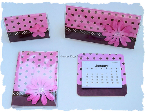 Pink Brown Polka dot Gift set