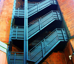 staircase (psyberartist) Tags: urban stone architecture iron university connecticut perspective staircase fireescape newhaven yale height