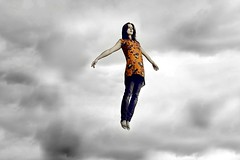 make me fly (laura zalenga) Tags: sky orange cloud girl smile self fly heaven dress vergissmeinnicht misteramazing laurazalenga