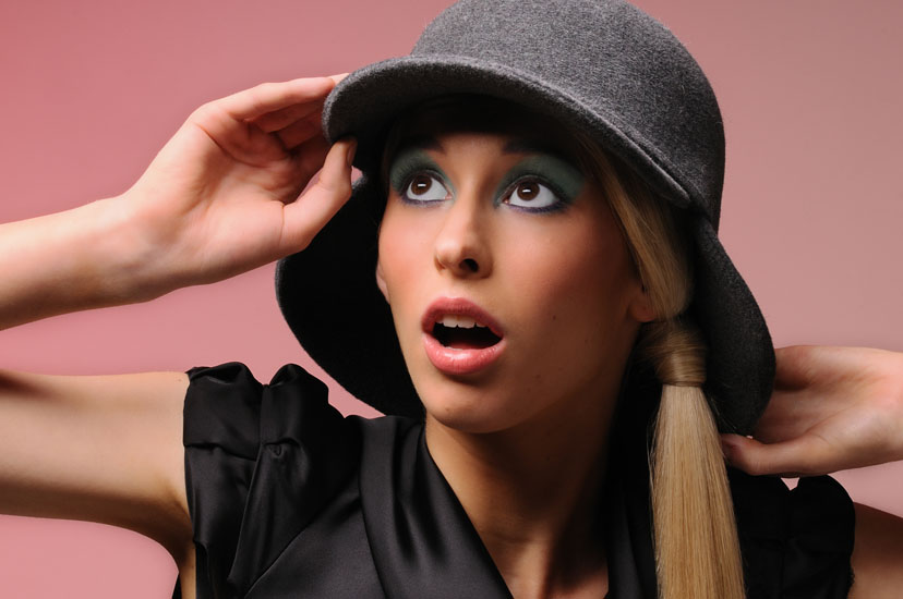 Colour Hats & Beauty in The Studio, Grey Hat Puce Background