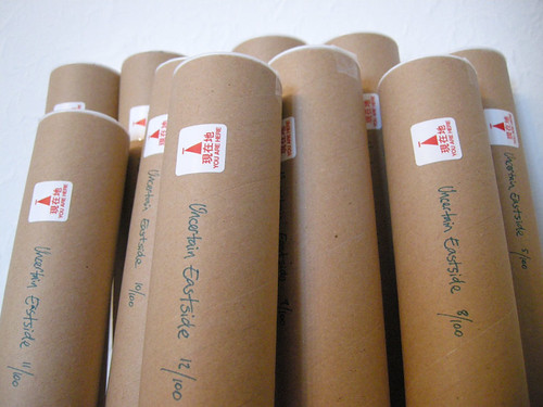 Uncertain Eastside prints tubed up and ready to go