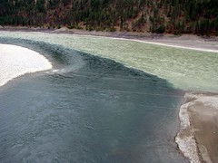 Where Two Become One (Dru!) Tags: canada river bc britishcolumbia sediment mixing fraser fraserriver thompson confluence frasercanyon lytton kumshhen