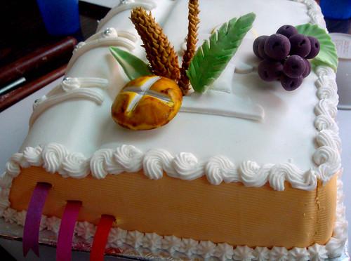 Communion book cake ready