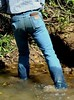 03 WS Feeling with wet boots in pond mud bottom (wranglerswimmer) Tags: swimmingfullyclothed wetjeans wetwranglerjeans guysintowetjeans