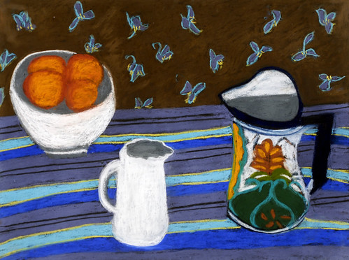 """Brown and Blue with Oranges - pastel on paper 22"""" x 30"""" $1100"""