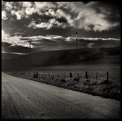 golgotha #2 (mugley) Tags: road wood sky blackandwhite bw 120 6x6 film grass clouds contrast rural fence mediumformat landscape track shadows kodak timber farm trix country toycamera australia windmills victoria 400tx scan hills negative barbedwire epson posts windfarm turbines redfilter xtol kodaktrix400 v700 vredeborch directionallight acciona waubra lightwindow cityofballarat reporterjuniorii shireofpyrenees