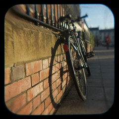 (balloonframegraham) Tags: shadow bike bicycle shadows belfast brickwall nireland autumnlight ttv throughtheviewfinder anscoflexii ttvf