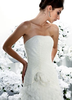 Wedding dress decorated with feathers.