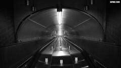 Metro after Midnight # 2 (dzpixel) Tags: travel bw eye monochrome night america canon subway grey vanishingpoint blackwhite nice metro mtl centre north perspective late quick samus dz montrealmetro samlam dzpixel