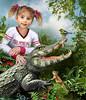 Tame the Crocodile (Gale Franey) Tags: digitalart aligator chipmunk computerart crocodile childrensbook computergraphics childrensart galefraney galefra —obramaestra—