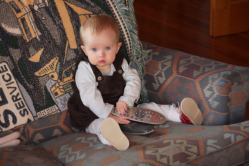 Nora with the remotes