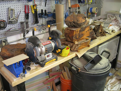 messy work bench