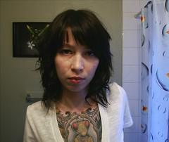 Hair experiments (hexapoda_) Tags: me tattoo bathroom curlyhair hexapoda