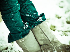 Faux winter boots. (Blanketback) Tags: winter snow cold sledding