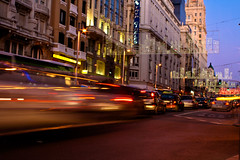Christmas Night Gran Via Madrid (Javi Twin) Tags: madrid cars lights luces coches granvia madridcentro brakingcars