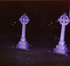 dual crucifixion (loganbertram) Tags: blue color church photography holga cross flash logan unc episcopal bertram loganbertram loganbertramphotography