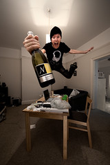 Merry CHRISTMAS! (jms) Tags: christmas xmas chris selfportrait me photoshop happy flying bottle jump jumping holidays champagne floating celebration explore alcohol merry leap retouched remoteflash 14mm remoteshutter strobist messychristmas