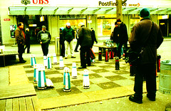 Chess - Crossed (schoeband) Tags: film schweiz switzerland xpro suisse chess crossprocessing bern 135 svizzera rollei35 brenplatz rolleicrossbird