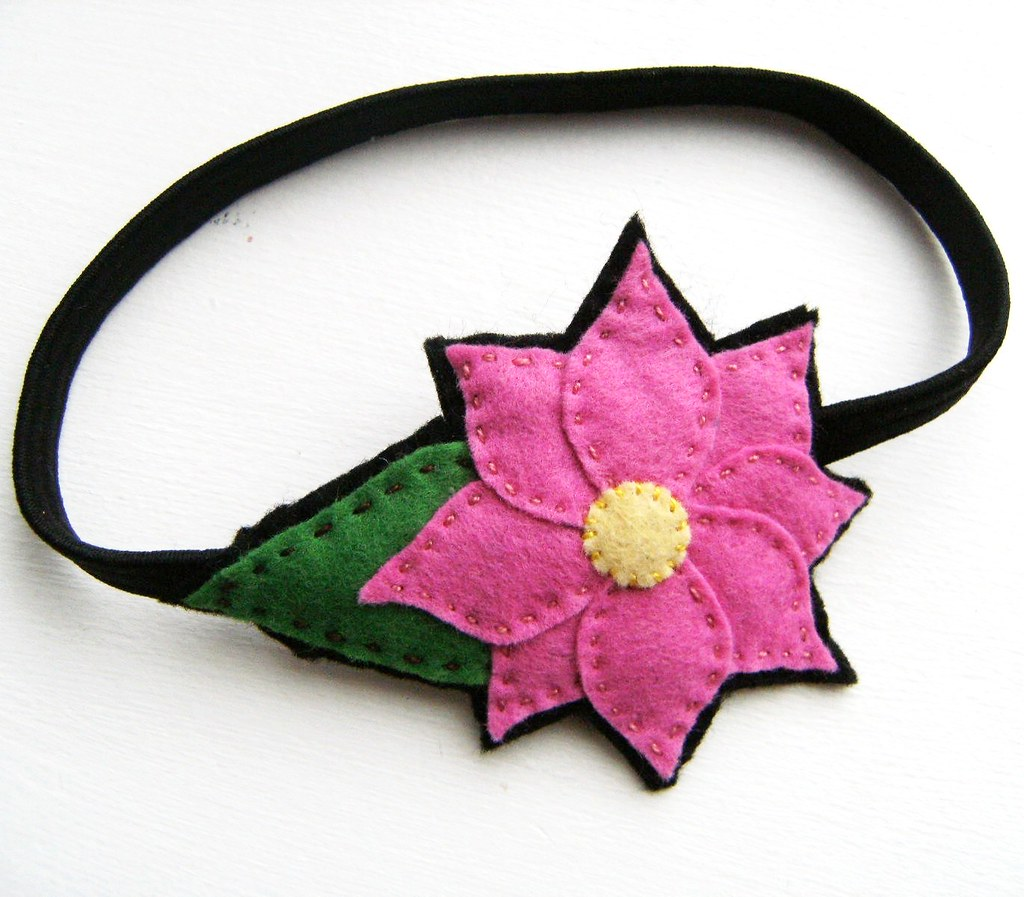 Hot Pink Lily Stretchy Felt Hair Band