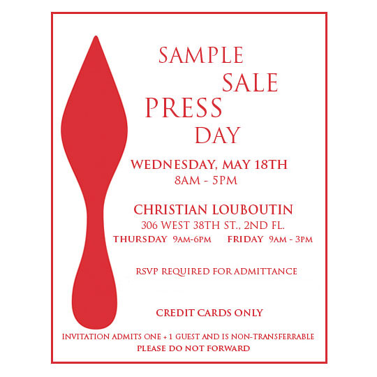 how to get on the louboutin sample sale list
