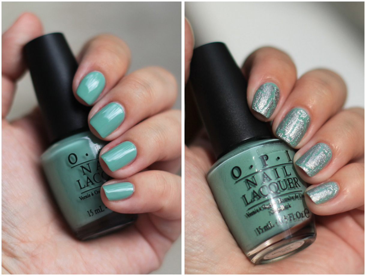OPI Mermaid's Tears with OPI Silver shatter