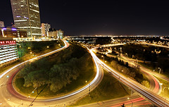 Down Downtown (gtsomething) Tags: longexposure downtown cityscape edmonton nighttime lighttrails cartrails windingroads downtownedmonton lighttails cartails gtsomething