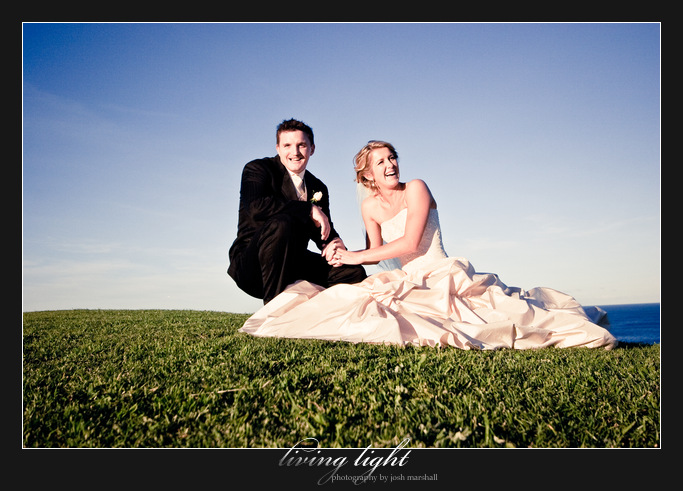 Bride and groom in sweeping ocean views. King Edward Park. Newcastle wedding photography.