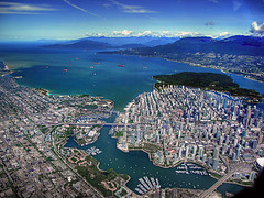 Vancouver Again (ecstaticist) Tags: ocean city travel blue sea sky urban canada west english water beauty vancouver creek skyscraper canon grid layout bay boat downtown sailing ship pacific side north salt columbia aerial helicopter shore wharf commute yaletown end kits kitsilano british stanleypark van shipping could westend false bcplace g10 nevertogheterinexplore