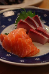 salmon and hamachi sashimi