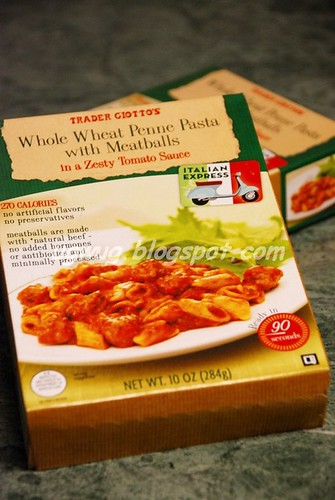 Trader Giotto's Whole Wheat Penne Pasta with Meatballs