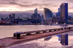 Docklands of Melbourne (tim.mcrae) Tags: blue light reflection water buildings dawn stadium australia melbourne victoria telstra dome docklands cbd rialto etihad melbournedocklands