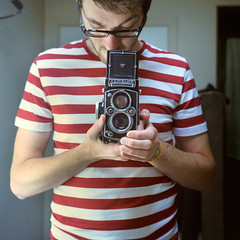 Rolleiflex 0212 (ukaaa) Tags: red white selfportrait reflection 120 6x6 tlr film home me analog myself square bathroom mirror julie kodak stripes tshirt charlie negative medium mf analogue wally uka portra waldo canoscan twinlensreflex portra400vc sekonic l308s rolleiflex35e 8800f ukaaa