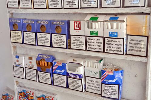 cigarettes in tamchi, kyrgyzstan