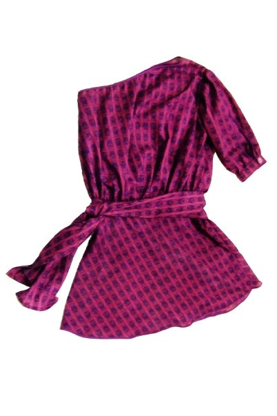 jennifer choi designs 80's purple off shoulder dress
