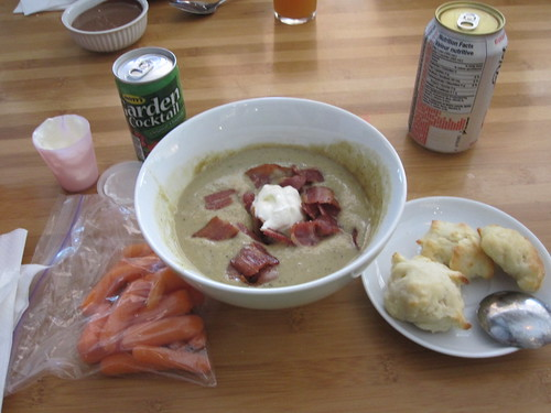 Carrots, celery-bacon soup with sour cream, biscuits, veggie juice from home, Diet coke ($1.25)