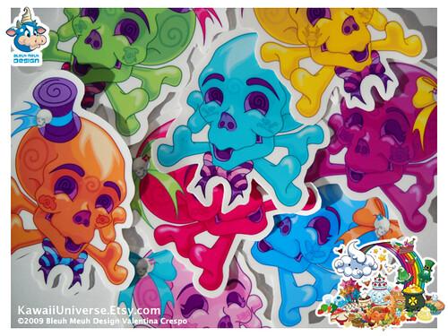 Kawaii Halloween Skull Handmade Vinyl Clings 4