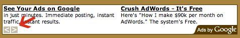 Old Google AdSense Arrows