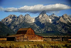 Mormon Row Barn (Dave Schreier) Tags: park old mountains window clouds barn fence grand row national mormon tetons coth5